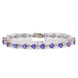 8.96 ctw Tanzanite and Diamond Bracelet - 18KT White Gold