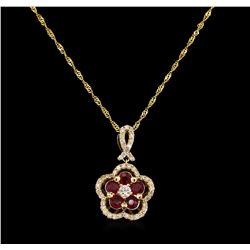 0.82 ctw Ruby and Diamond Pendant With Chain - 14KT Yellow Gold