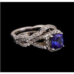 14KT White Gold 1.22 ctw Tanzanite and Diamond Ring and Guard