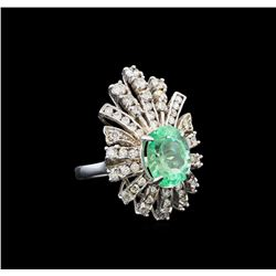 GIA Cert 4.99 ctw Emerald and Diamond Ring - 14KT White Gold