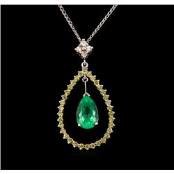 2.18 ctw Emerald and Diamond Pendant With Chain - 14KT White Gold