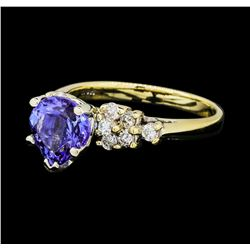 2.25 ctw Tanzanite And Diamond Ring - 14KT Yellow And White Gold