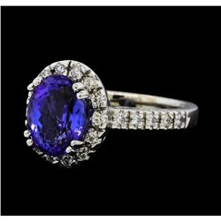 2.91 ctw Tanzanite and Diamond Ring - 14KT White Gold
