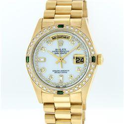 Rolex 18KT Gold President Diamond and Emerald Day-Date Men's Watch