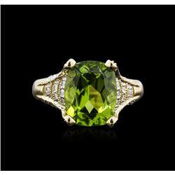 4.24 ctw Peridot and Diamond Ring - 14KT Yellow Gold