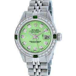 Rolex Stainless Steel Diamond and Emerald DateJust Ladies Watch