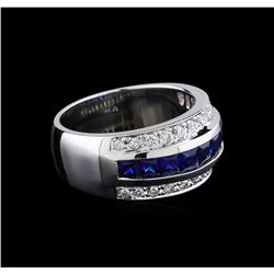 1.50 ctw Sapphire and Diamond Ring - 18KT White Gold