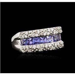 14KT White Gold 1.53 ctw Tanzanite and Diamond Ring