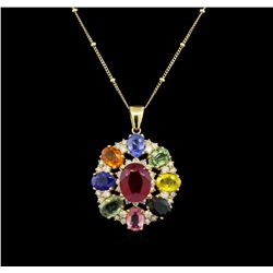 14KT Yellow Gold 4.42 ctw Ruby, Sapphire and Diamond Pendant With Chain