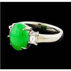 3.44 ctw Jade and Diamond Ring - Platinum