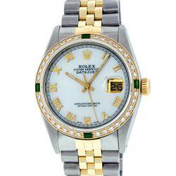 Rolex Two Tone Emerald and Diamond DateJust Men's Watch