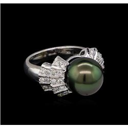 0.77 ctw Pearl and Diamond Ring - 14KT White Gold
