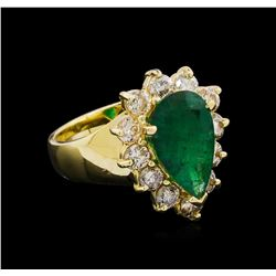 14KT Yellow Gold 2.48 ctw Emerald and Diamond Ring