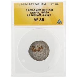 1265-1282 Dirham Ilkhan Abaga AR Dirham A-2127 Coin ANACS VF35