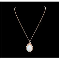 23.65 ctw Opal and Diamond Pendant With Chain - 14KT Rose Gold