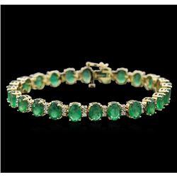 16.63 ctw Emerald and Diamond Bracelet - 14KT Yellow Gold