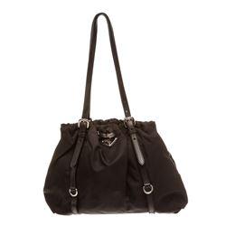 Prada Black Nylon Leather Belt Strap Shoulder Bag