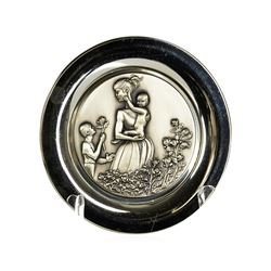Sterling Silver 1974 Mother's Day Decorative Plate from the Wittnauer Mint