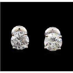 1.60 ctw Diamond Stud Earrings - 14KT White Gold