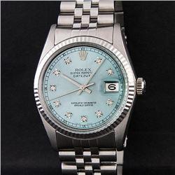 Rolex Mens Stainless Steel Ice Blue Diamond Quickset 16234 DateJust Wristwatch