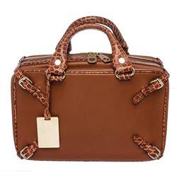 Celine Chocolate Brown Crocodile Embossed Leather Trunkette Tote Bag