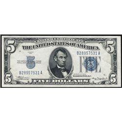 1934 $5 Silver Certificate Note