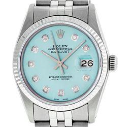 Rolex Mens 36mm Stainless Steel Ice Blue Diamond Datejust Wristwatch