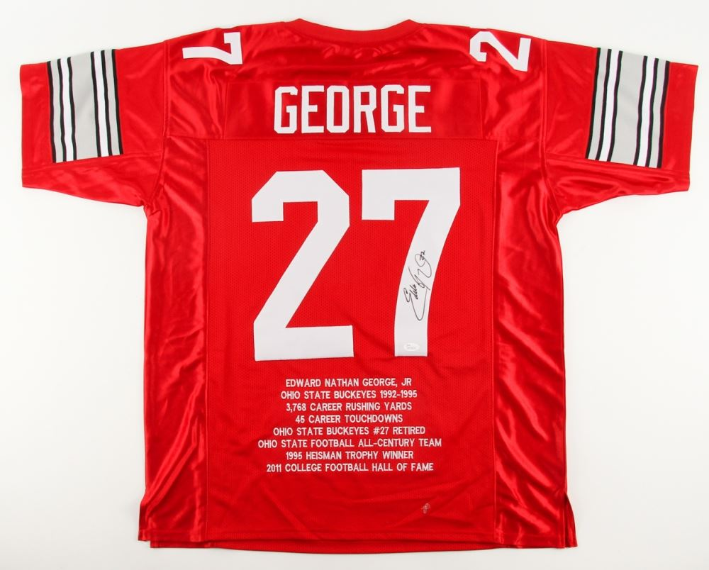 sale retailer 20f8a 7ebfc Eddie George Signed Ohio State Buckeyes College Highlight ...
