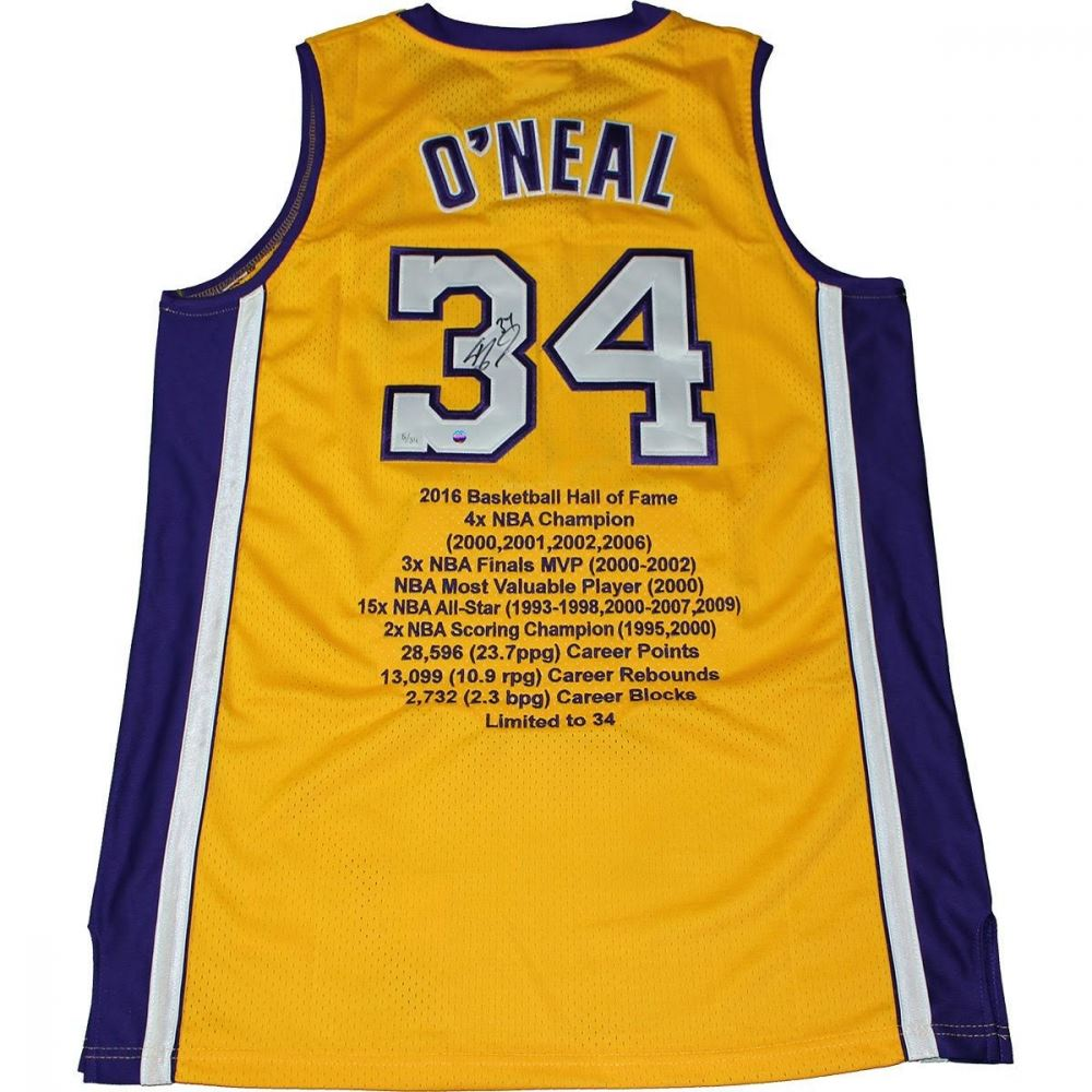 5dbce3776 Image 1   Shaquille O Neal Signed Limited Edition Lakers Career Highlight  Stat Jersey