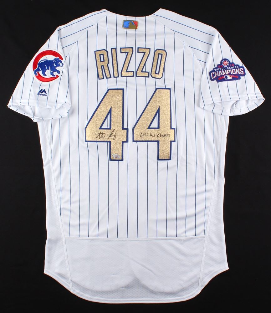 size 40 8cfda 70ab6 Anthony Rizzo Signed Cubs Authentic Majestic 2016 World ...