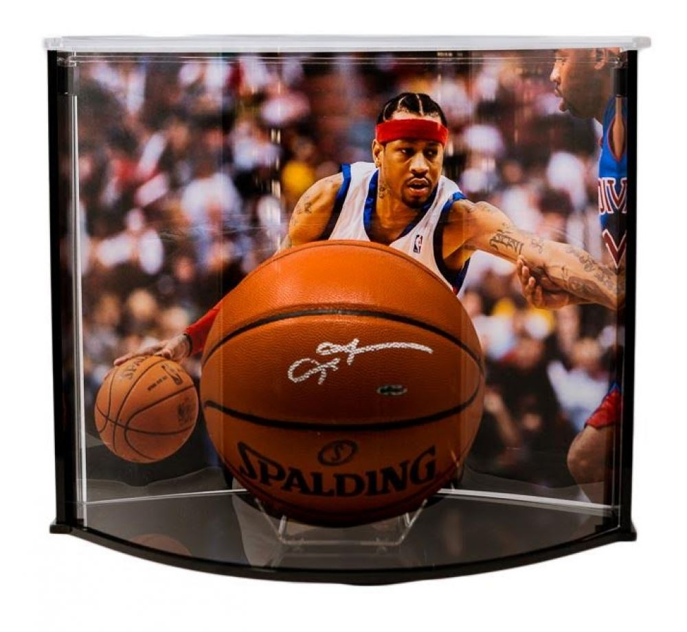 303bce9e637 Image 1 : Allen Iverson Signed Official Game Ball Series Basketball with  Curve Display Case (