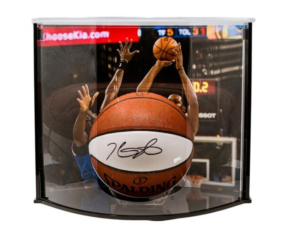 de67de3eb623 Image 1   Kevin Durant Signed Warriors Logo Basketball with Curve Display  Case (Panini COA