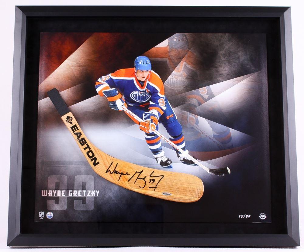 Wayne Gretzky Signed LE Oilers 25x29 Custom Framed Hockey Stick