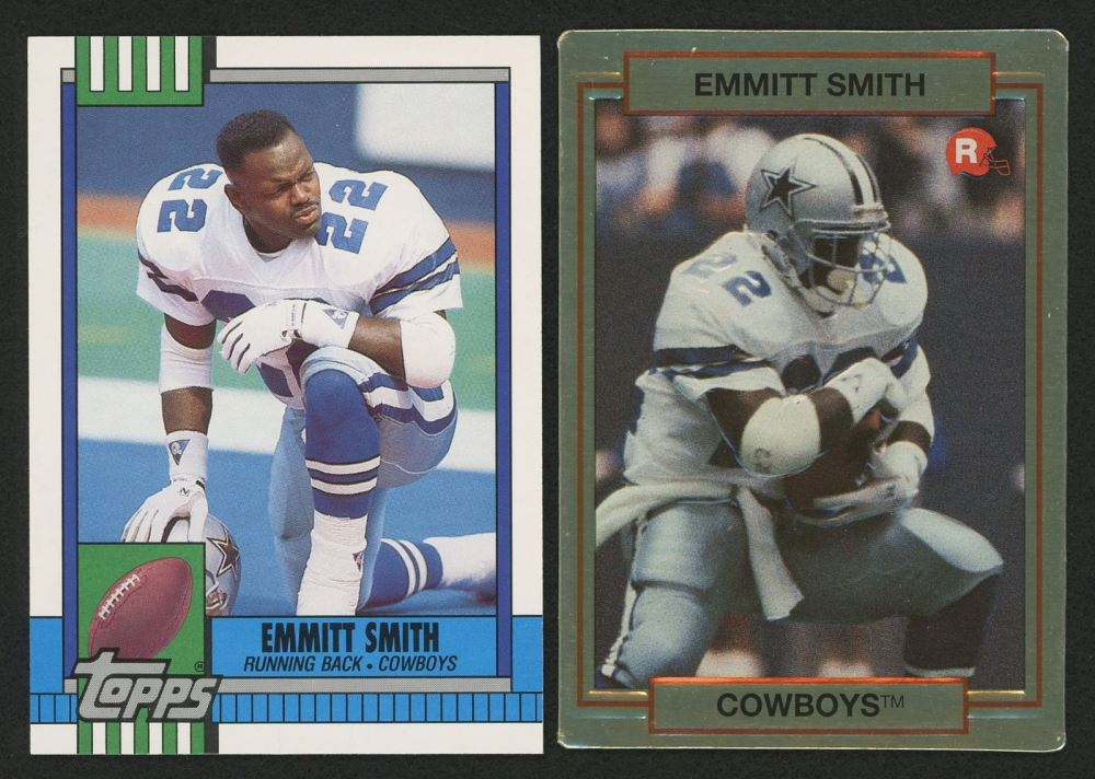 Lot Of 2 Emmitt Smith Rookie Cards With 1990 Topps Traded