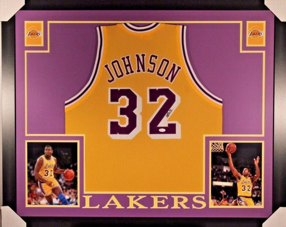 wholesale dealer 1453b f91bb Magic Johnson Signed Lakers 35x43 Custom Framed Jersey ...