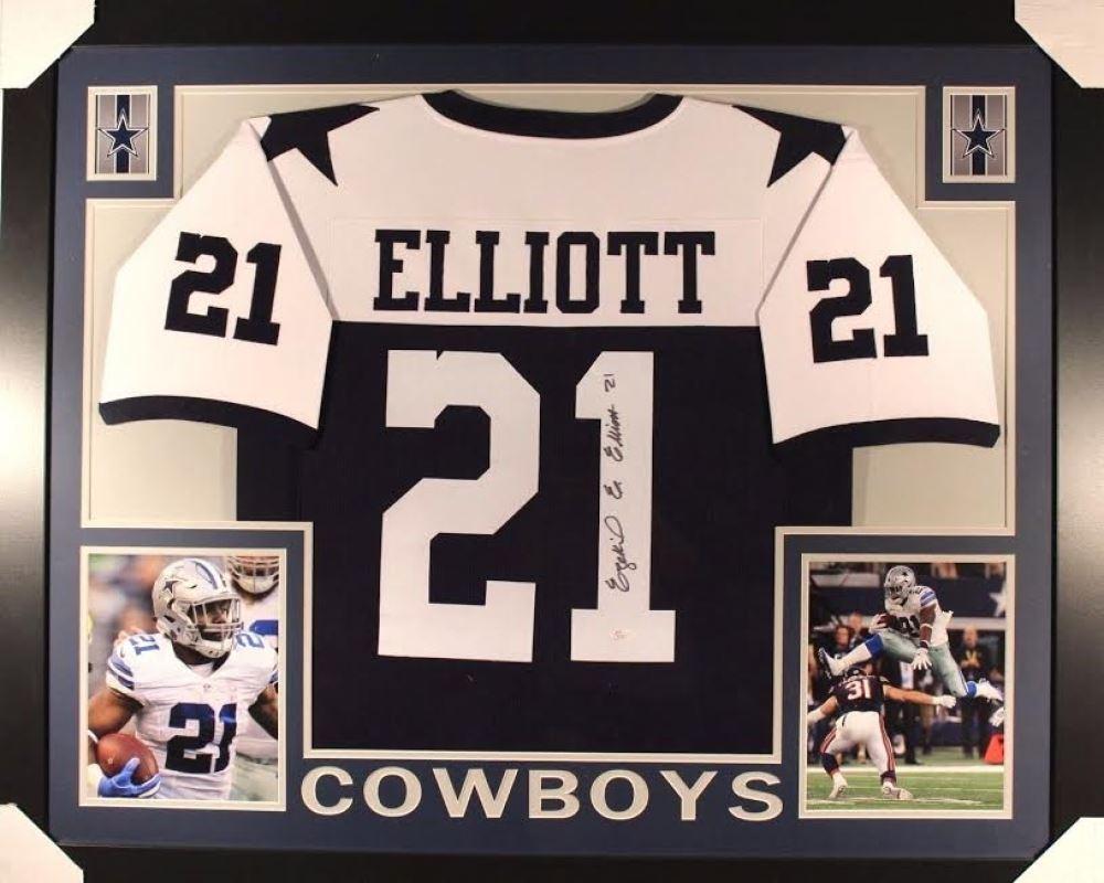 best service 1329b 2baba Ezekiel Elliott Signed Cowboys 44x36 Custom Framed ...