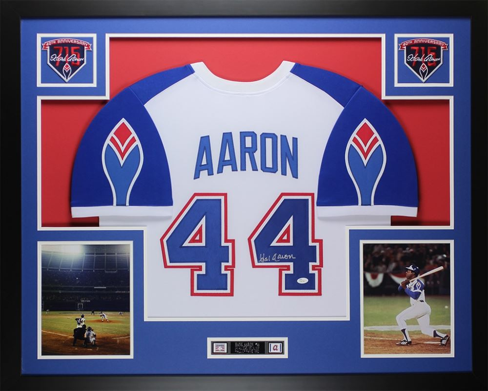 new style 6ef70 4328b Hank Aaron Signed Braves Throwback 35