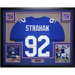 Michael Strahan Signed Giants 35x43 Custom Framed Jersey (JSA COA)