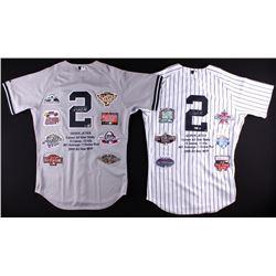 Derek Jeter Signed lot of (2) LE Yankees Career Highlight Stat Home  Road Jerseys (Steiner COA  MLB