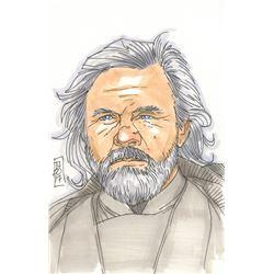 """Tom Hodges - Luke Skywalker """"Star Wars"""" Signed ORIGINAL 5.5"""" x 8.5"""" Color Drawing on Paper (1/1)"""