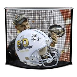 Peyton Manning Signed Super Bowl 50 Full Size Authentic On-Field Helmet With Custom Curve Display Ca