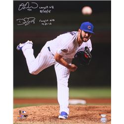"Miguel Montero  David Ross Signed Cubs Jake Arrieta Action 16x20 Photo Inscribed ""Caught NH 8/30/15"""
