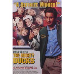 Emilio Estevez Signed  The Mighty Ducks  27x40 Movie Poster Inscribed  Quack  (Shwartz COA)