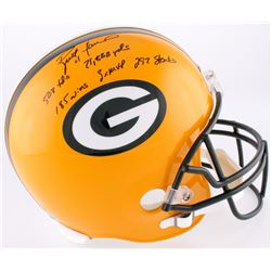 Brett Favre Signed Packers Full-Size Helmet with (5) Career Stat Inscriptions (Favre COA)