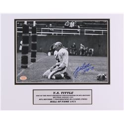 "Y. A. Tittle Signed Giants 11x14 Custom Matted 8x10 Photo Inscribed ""HOF 71"" (SOP COA)"