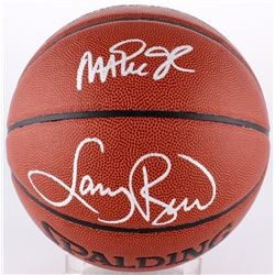 Larry Bird  Magic Johnson Signed Basketball (Larry Bird Hologram  Schwartz COA)