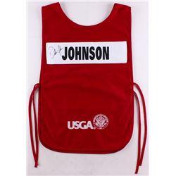 "Dustin Johnson Signed ""2016 US Open Oakmont"" Caddy Bib (JSA LOA)"