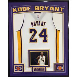 Kobe Bryant Signed Lakers 36x42 Custom Framed Away Jersey Display (Panini COA)