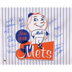 New York Mets 16x20 Photo Team-Signed by (15) with Wally Backman, Jack DiLauro, Sid Fernandez, Bud H