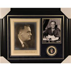 Franklin D. Roosevelt Signed 19x23 Custom Framed Photo Display (JSA LOA)